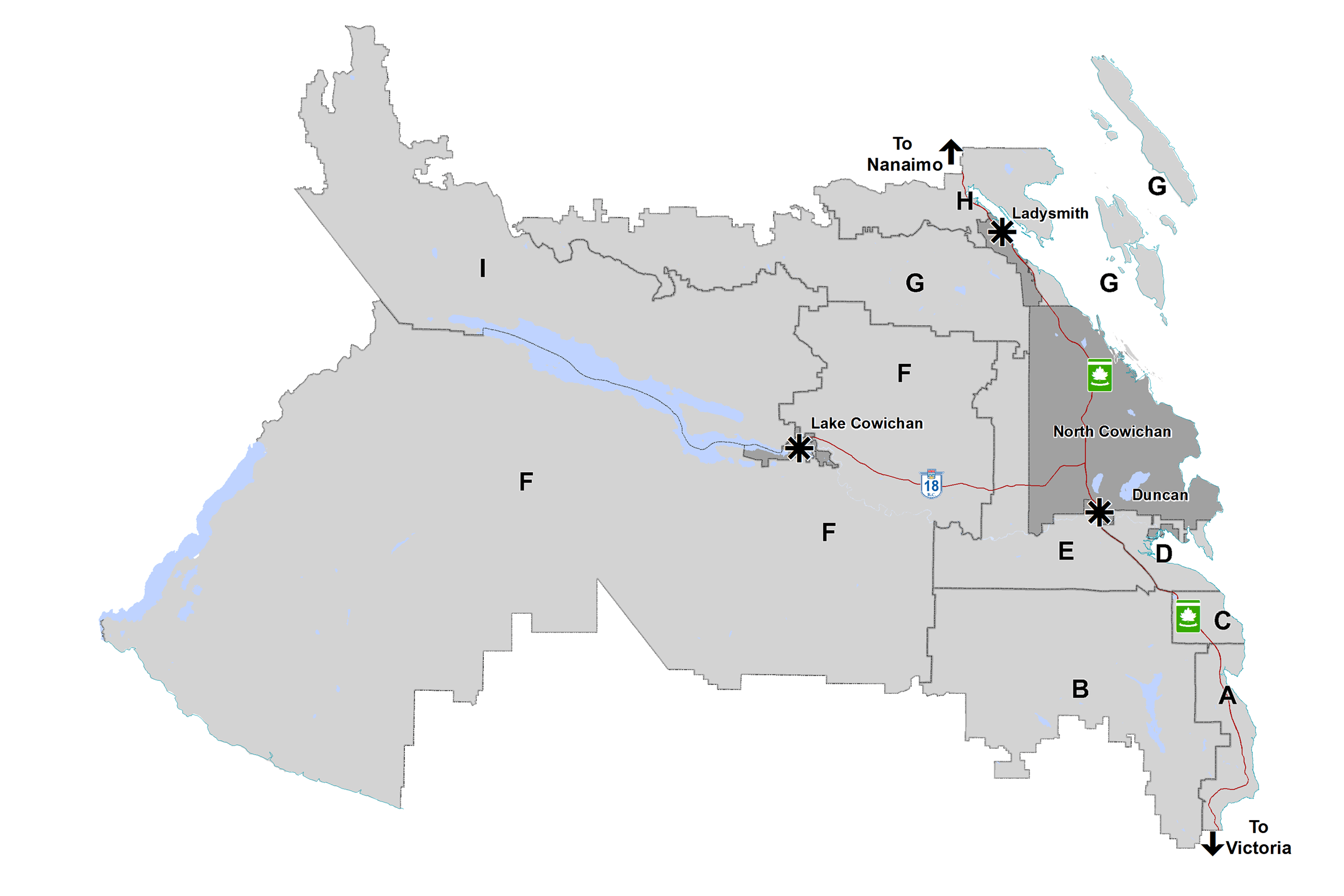 An overview map of the Cowichan Region.